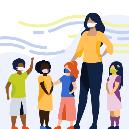 Illustration of female teacher and four young students wearing brightly colored clothes and face masks