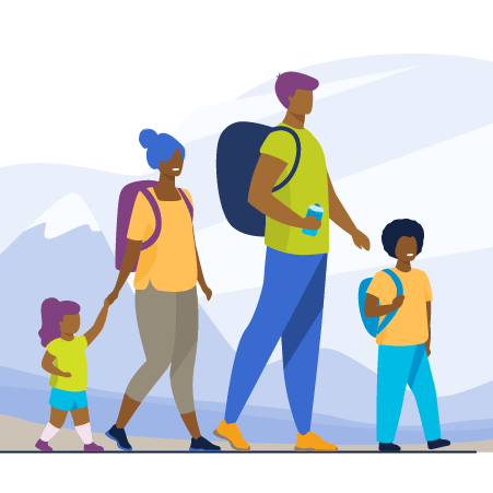 Illustration of a family hiking