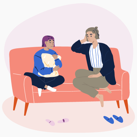 Illustration of adult and teenager having a serious discussion on a couch