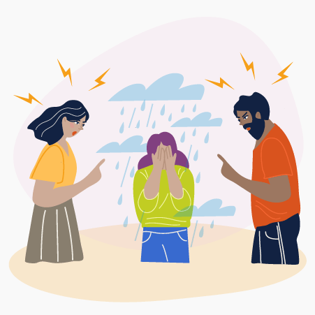 Illustration of a man and a woman chastising a teen girl
